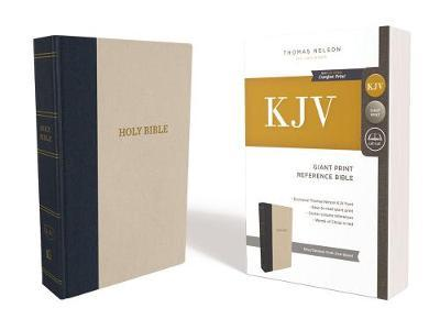 Image for KJV, Reference Bible, Giant Print, Cloth over Board, Blue/Tan, Red Letter Edition, Comfort Print from emkaSi